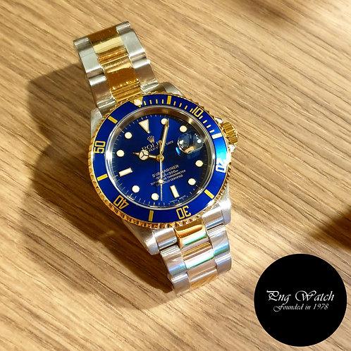 Rolex OP Date 18K Half Yellow Gold Blue Submariner REF: 16613 (Y )(2)
