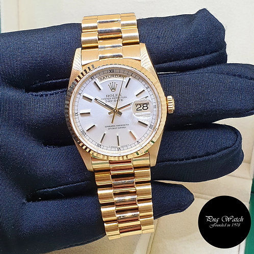 Rolex 36mm 18K Yellow Gold Silver Indexes Day-Date REF: 18238 (T)(2)