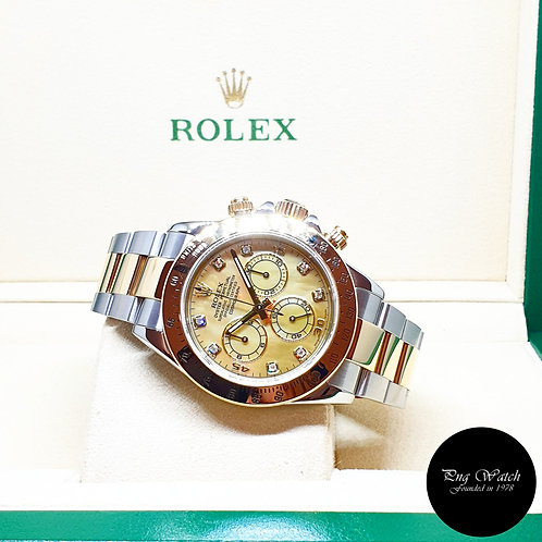 Rolex OP 18K Half Gold Yellow MOP Diamonds Daytona REF: 116523 (Y)