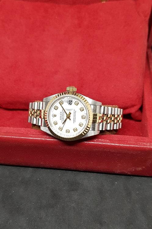 Rolex Oyster Perpetual 18K Half Gold White Diamonds Ladies Datejust REF: 69173
