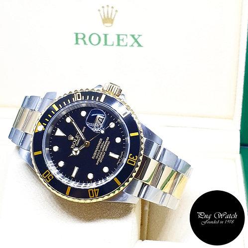 Rolex 18K Half Gold Black Submariner Date REF: 16613 (D Series)
