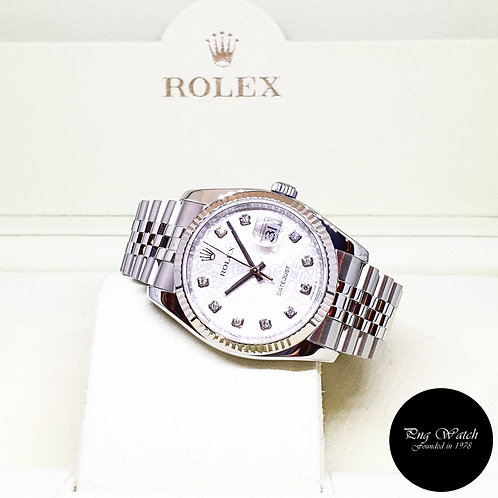 Rolex Oyster Perpetual 36mm Silver Computer Diamonds Datejust REF: 116234 (AN)