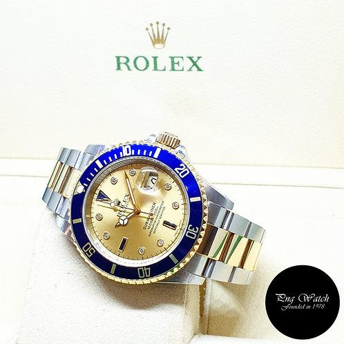 Rolex OP 18K Half Gold Champagne Serti Diamonds Submariner Date 16613