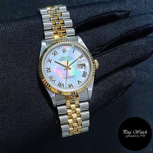 Rolex Oyster Perpetual 18K Half Yellow Gold Roman MOP Datejust REF: 16233 (2)