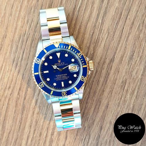 """Rolex 18K Half Gold """"Swiss Dial"""" Blue Submariner REF: 16613 (2)"""