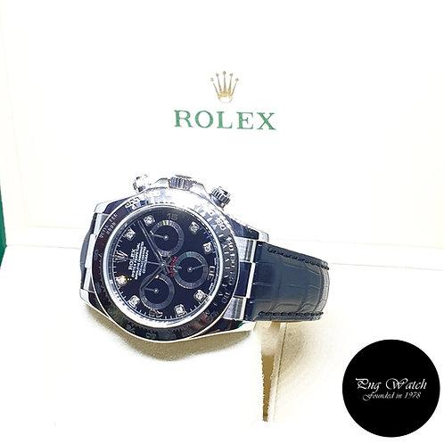 Rolex OP 18K White Gold Black Diamonds Leather Cosmograph Daytona REF: 116519