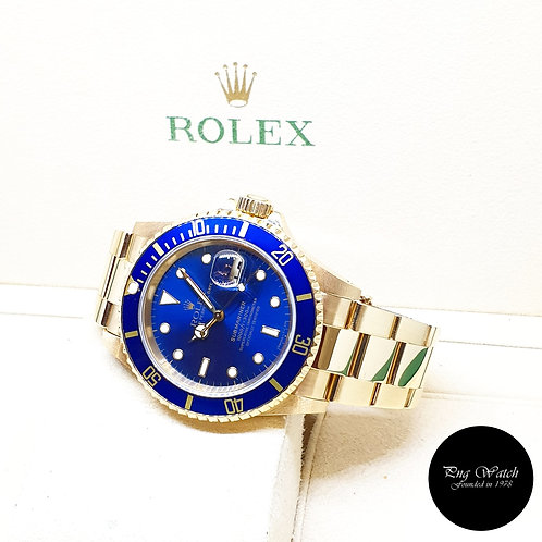 Rolex Oyster Perpetual 18K Full Yellow Gold Blue Submariner Date REF: 16618 (T)
