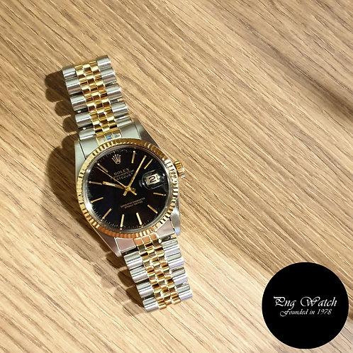 Rolex Oyster Perpetual 14K Half Gold Black Index Datejust REF: 16013 (2)