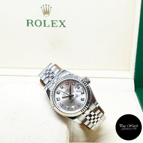 Rolex OP 10PT Big Diamonds Silver Ladies Datejust REF: 179174 (2015)