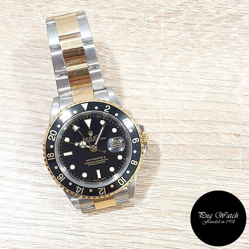Rolex Oyster 18K Half Gold Black GMT Master 2 REF: 16713 (F)(2)