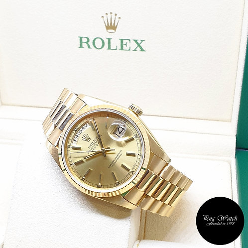 Rolex 36mm 18K Yellow Gold Champagne Indexes Day-Date REF: 18038 (5.50 Million)