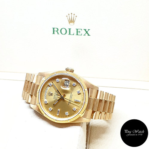 Rolex 18K Yellow Gold Bark Finished Vignette Diamonds Day-Date REF: 18248