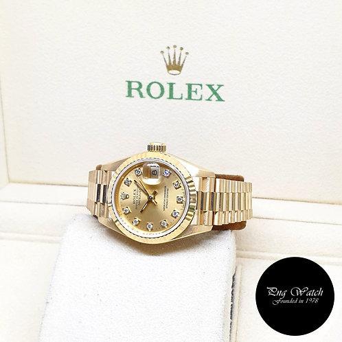 Rolex 18K Yellow Gold 26mm Ladies Champagne Vignette Diamonds Datejust 69178