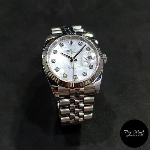 Rolex Oyster Perpetual 10PT Big Diamonds MOP 36mm Datejust REF: 116234 (11)(2)