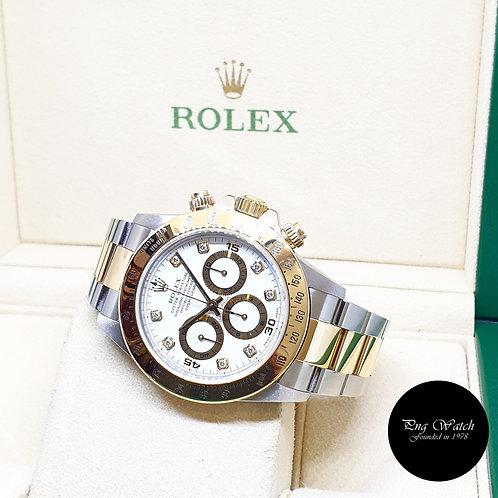 Rolex 18K Half Yellow Gold Zenith Mvt White Diamonds Daytona REF: 16523 (A)