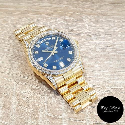 Rolex OP 18K Yellow Gold Blue Diamond Dial  Day-Date  REF: 118388 (2)