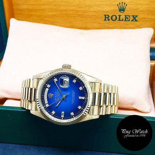 Rolex OP 18K Full Gold 2 Tone Blue Degrade Diamonds Day-Date REF: 18238