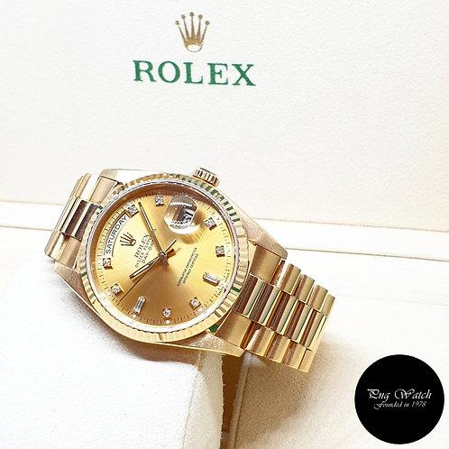 Rolex OP 18K Yellow Gold Champagne Vignette Diamonds Day-Date REF: 18238