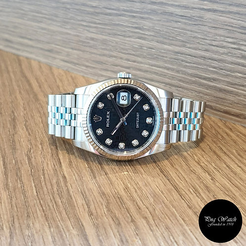 Rolex Oyster Perpetual 10PT Diamonds Black Computer Datejust REF: 116234 (2)
