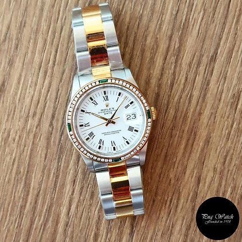 Rolex 18K Half Gold White Roman Oyster Perpetual Date REF: 15223 (2)