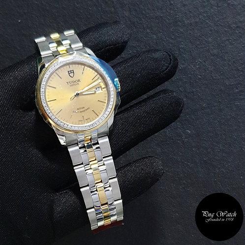 Tudor 36mm Glamour Date 18K Half Yellow Gold Champagne Diamond Bezel Dress 55023