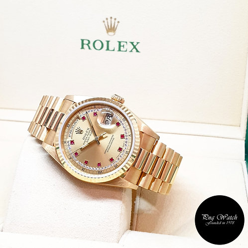Rolex OP 18K Yellow Gold Champagne Rubies and String Diamonds Daydate REF: 18238
