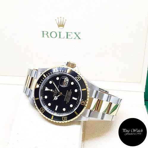 Rolex Oyster Perpetual 18K Half Yellow Gold Black Submariner Date REF: 16613 (Z)