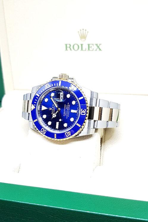 Rolex Ceramic 18K Half Gold Sunburst Blue Submariner REF: 116613LB
