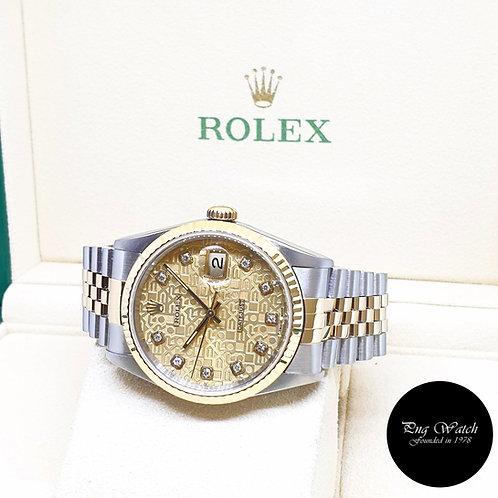 Rolex 18K Half Gold Champagne Computer Diamonds Datejust REF:  16233