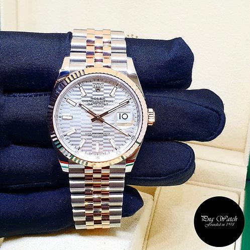 Rolex 18K Half Rose Gold 36mm Silver Indexes Motif Datejust REF: 126231 (2)