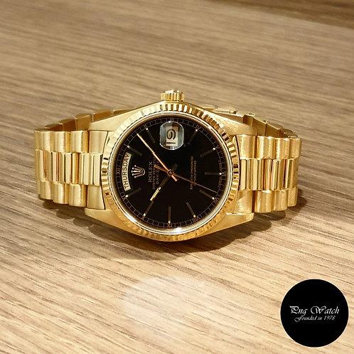 Rolex 18K Full Gold Black Day-Date REF: 18038 (2)
