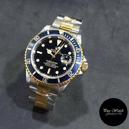 Rolex Oyster Perpetual 18K Half Gold Black Submariner Date REF: 16613 (X)(2)