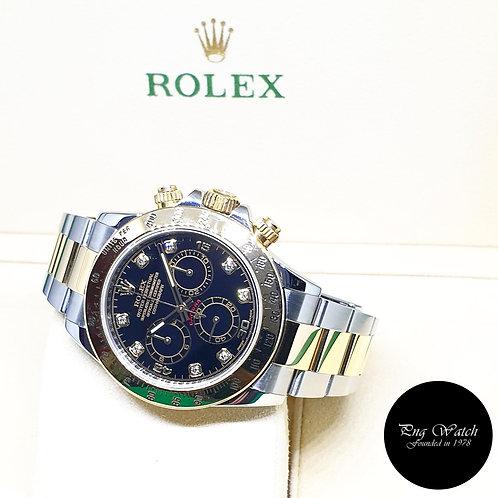 Rolex OP 18K Half Gold Black Diamonds Daytona REF: 116523 (AN Series)(Blue Lume)