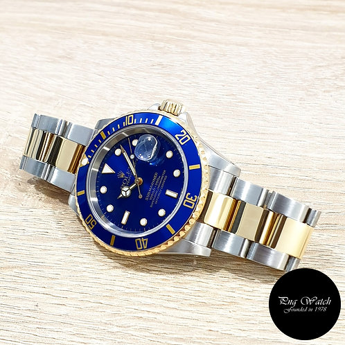 Rolex Oyster Perpetual 18K Half Gold Blue Submariner Date REF: 16613 (Y)(2)