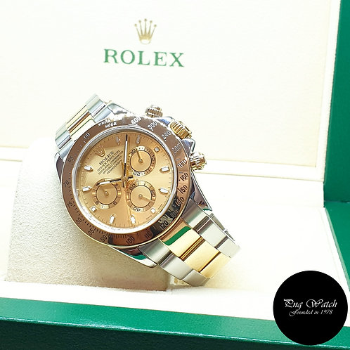 Rolex Oyster Perpetual 18K Half Gold Champagne Indexes Daytona REF: 116523 (F)