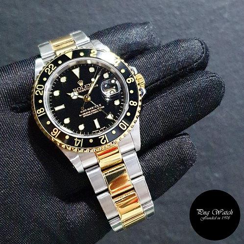 Rolex 40mm Discontinued 18K Half Gold Black GMT Master 2 REF: 16713 (P)(2)