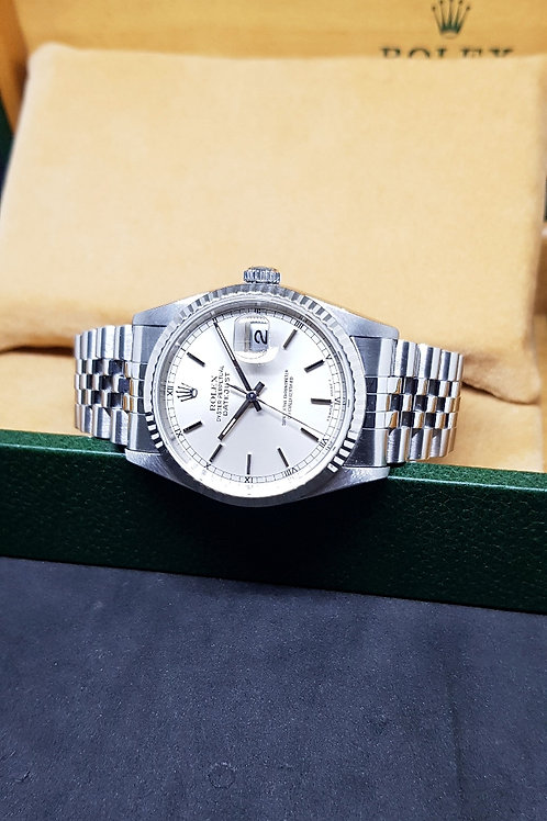 Rolex Oyster Perpetual Silver Baton Datejust REF: 16234