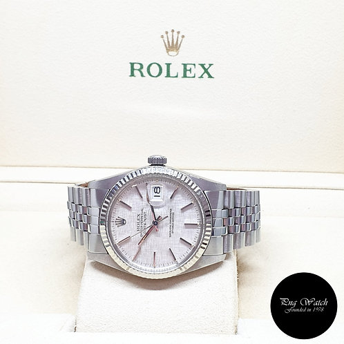 Rolex Oyster Perpetual Silver Linen 36mm Datejust REF: 16014