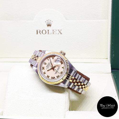Rolex Oyster Perpetual 18K Half Gold 26mm Ladies Cream Roman Datejust REF: 69173
