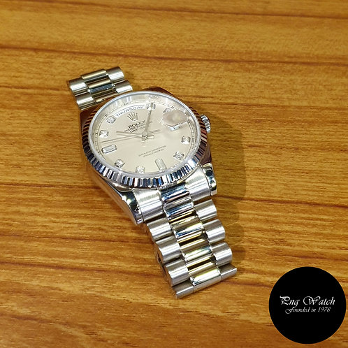 Rolex Oyster Perpetual 18K White Gold Silver Diamonds Day-Date REF: 118239 (2)