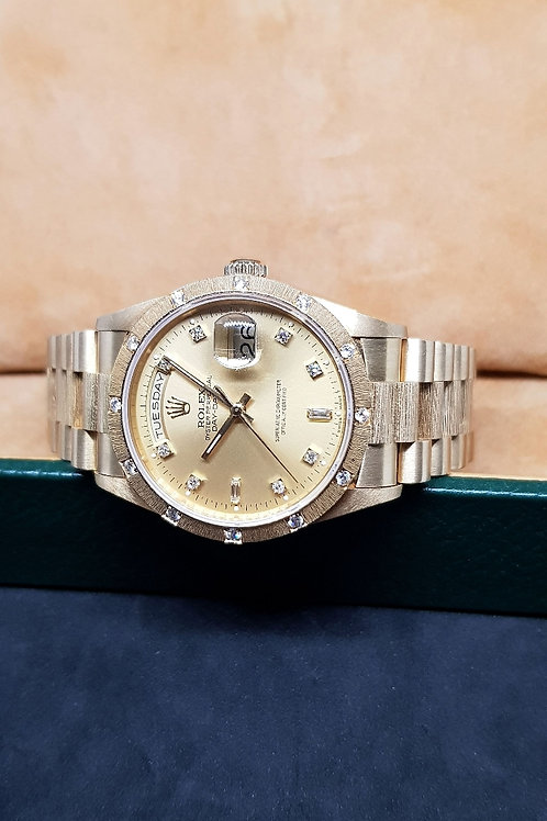 Rolex Oyster Perpetual 18K Yellow Gold Diamonds Bark Finished Day-Date REF:18308