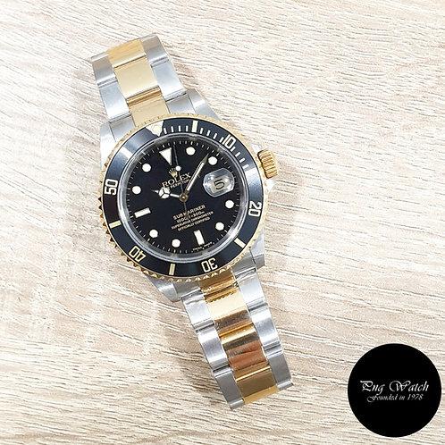 Rolex Oyster Perpetual 18K Half Gold Black Submariner Date REF: 16613 (K)(2)