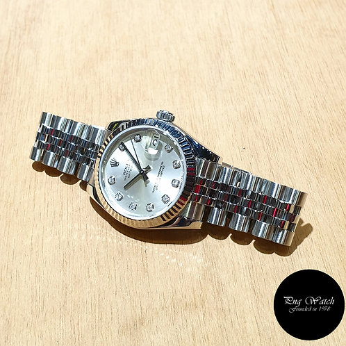 Rolex Oyster Perpetual 31mm Silver Diamonds Datejust REF: 178274 (AN)(2)