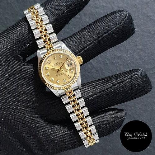Rolex 18K Half Gold 26mm Ladies Champagne Diamonds Datejust REF: 69173 (2)