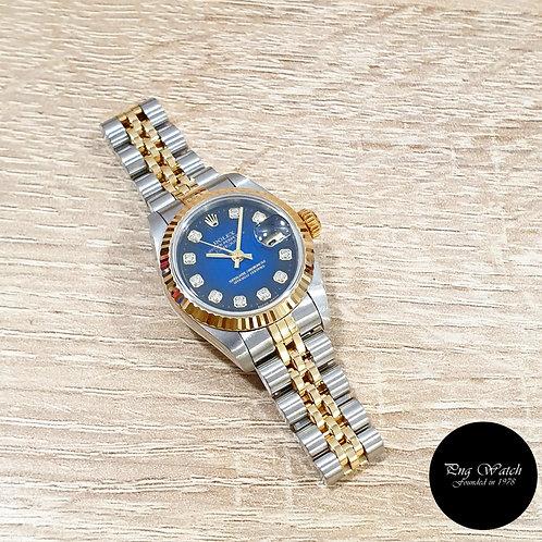 Rolex OP 18K Half Gold Blue Degrade Diamonds Ladies Datejust REF: 69173 (2)
