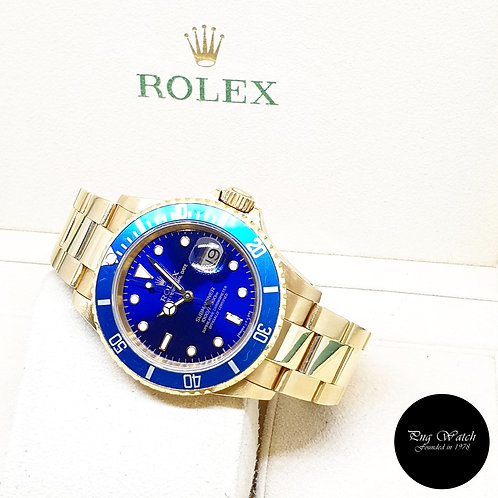 Rolex Oyster Perpetual 18K Full Yellow Gold Blue Submariner Date REF: 16618 (N)