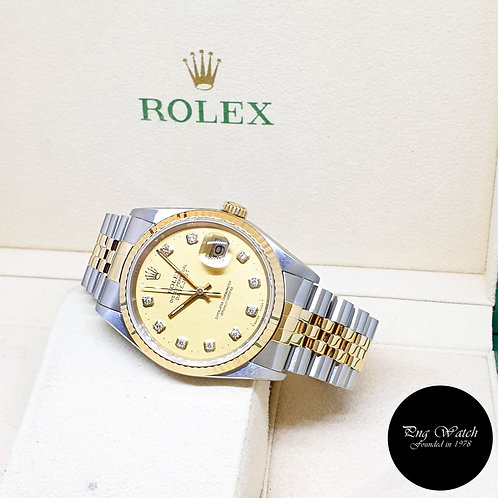 Rolex Oyster Perpetual Champagne Diamonds Datejust REF: 16233 (W Series)