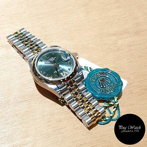 Rolex OP 31mm 18K Half Gold Olive Green Diamonds VI Datejust REF: 178243 (2)