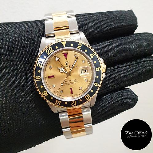 Rolex 18K Half Gold Tritium Champagne Serti Diamonds GMT Master 16713 (2)