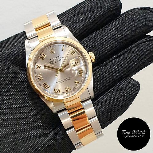 Rolex Oyster Perpetual 18K Half Gold Rhodium Roman Datejust REF: 16203 (U)(2)